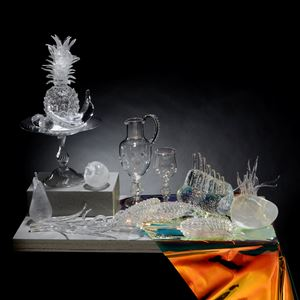elaborate still life artwork of fruit made of glass PVC and concrete