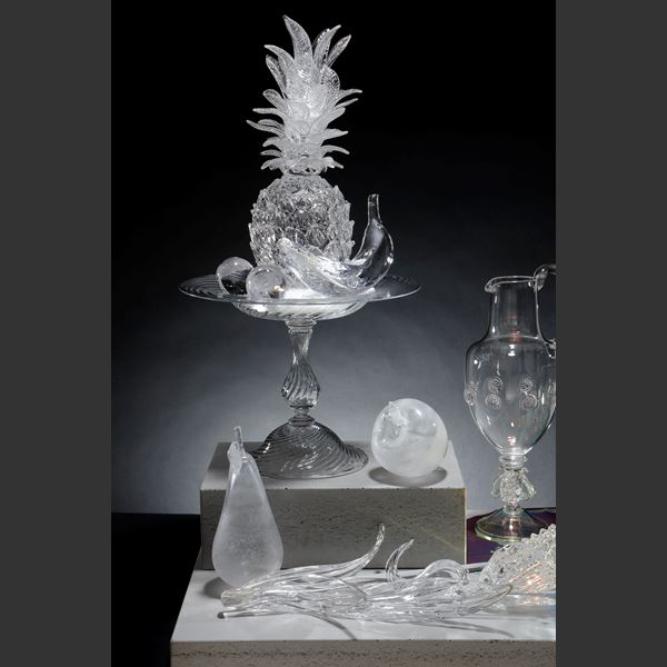 elaborate still life artwork made of glass PVC and concrete