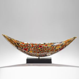 circular patterned handblown intricate glass sculpture in concave shape