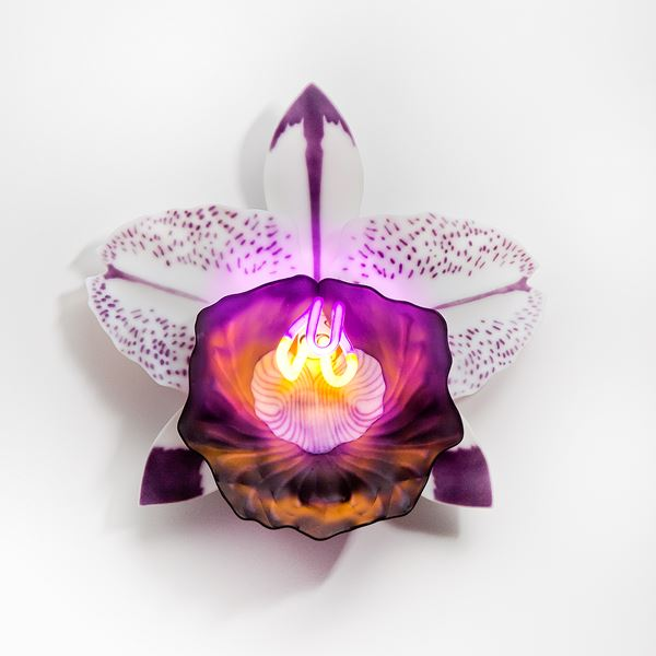 wall-mounted fused and sculpted glass art of flower in bright neon on white