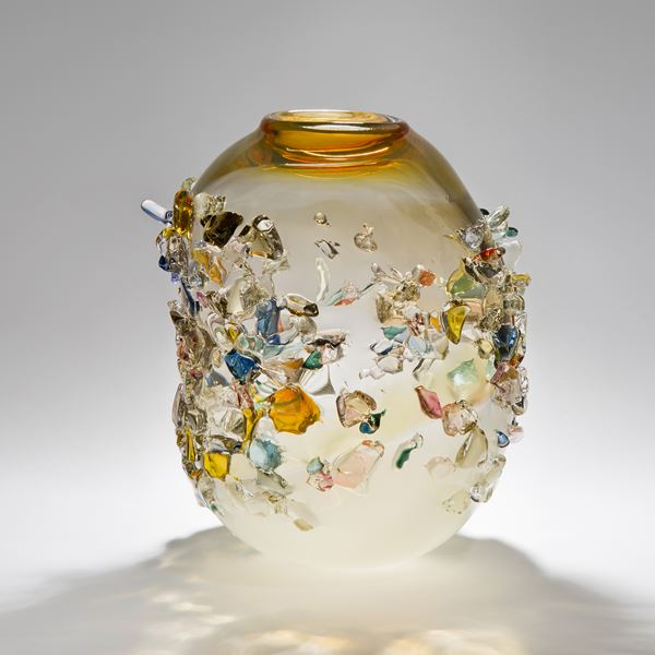 cream clear and orange art glass vase with external colourful crystal adornment