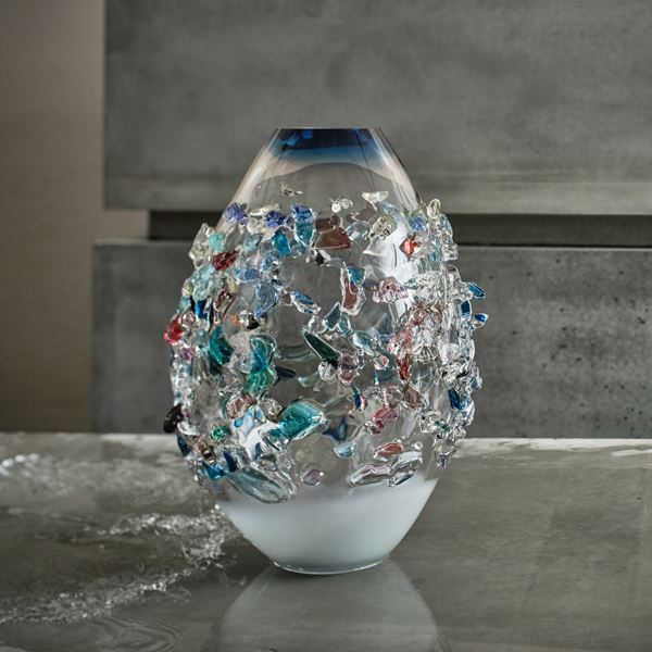 handblown art glass vase in clear and marine colours with external crystal decoration