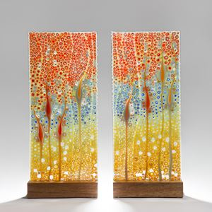 colourful fused art-glass diptych sculptures of coral and flower