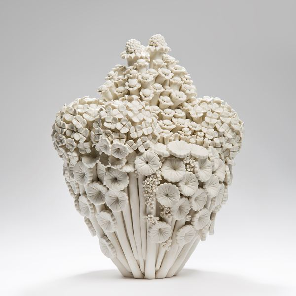 porcelain decorative ceramic sculpture of flowers white