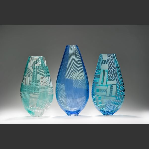 ornate decorative patterened glass vase sculpture