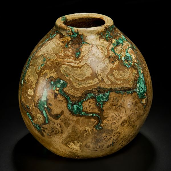 sculpted dark brown oak wood vessel laden with precious minerals in turquoise