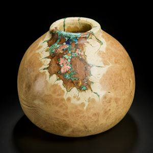 medium height sculpted acacia wood vessel with precious mineral inlay in natural looking browns and turquoise