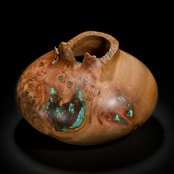 chinese style bowl sculpture made of english elm with precious mineral adornment in turquoise and gold
