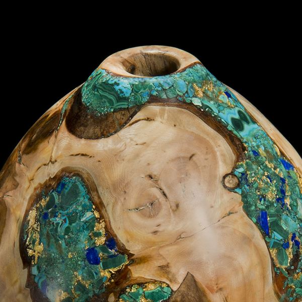 chinese style vessel sculpture using light brown english elm inlaid with malachine azurite and gold stones