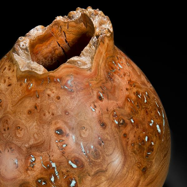chinese style bowl sculpture made of english elm with precious mineral adornment