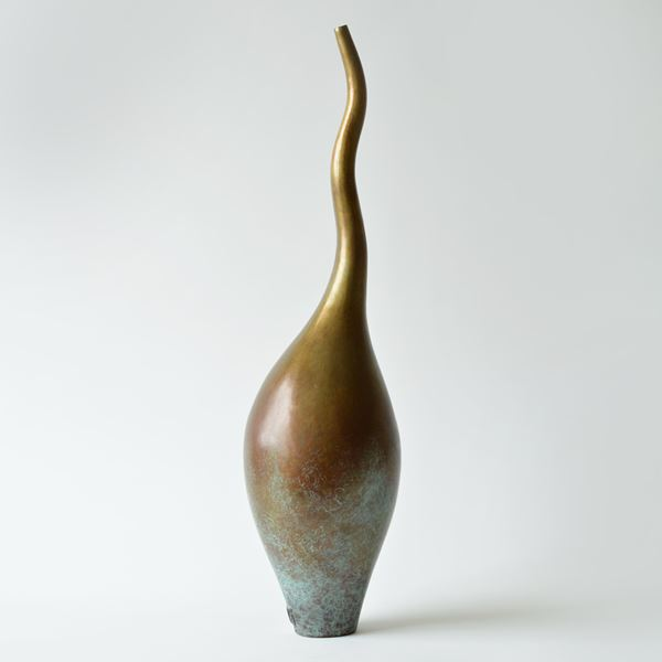 contemporary bronze vessel sculpture with long thin neck