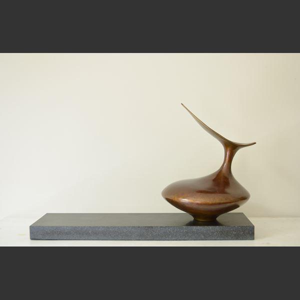 bronze sculpted vessel in bird like form