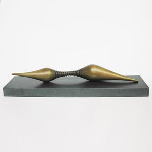 modern minimalist bronze sculpture on slate base