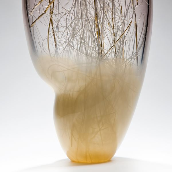 sculpted glass vase artwork with internal wire structure