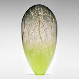 tall blown glass orb with internal gold wire structure and lime coloured base