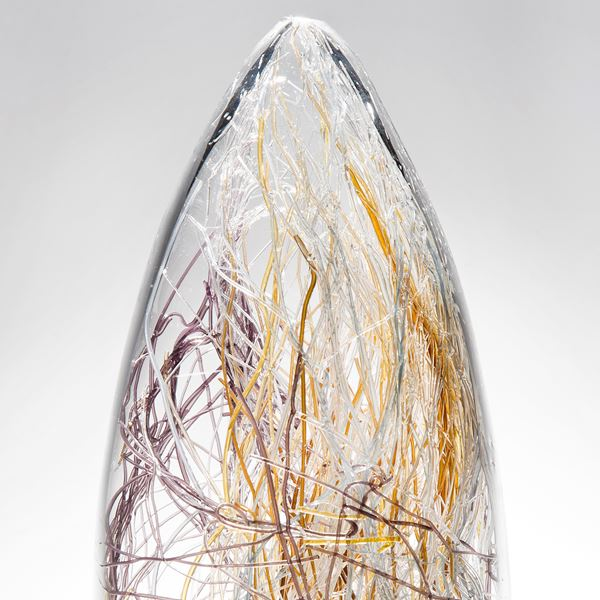 handblown art-glass sculpture with internal wire structure