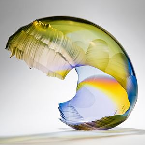 art glass wave sculpture in yellow and blue shades