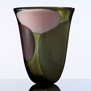 contemporary glass vase in shades of green and pink