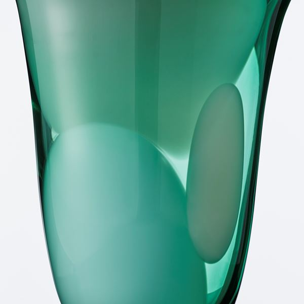 modern green glass art vase sculpture