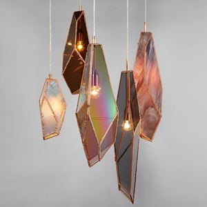 hanging pendant lights in bronze and rich coloured glass