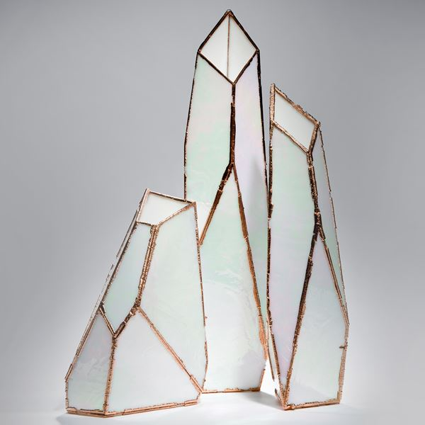 mother of pearl and copper abstract art-glass sculpture