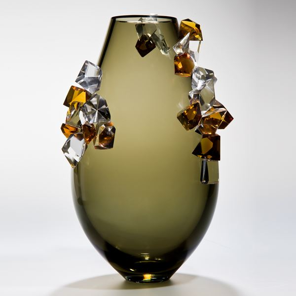tobacco coloured art glass vase with external coloured crystal adornment