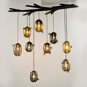 hanging light with round glass baubles decorated with butterflies and moths