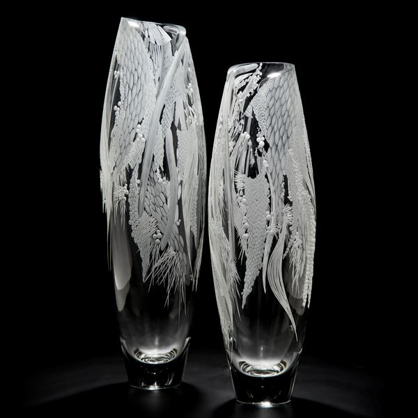 tall clear glass vase sculpture with engraved floral pattern