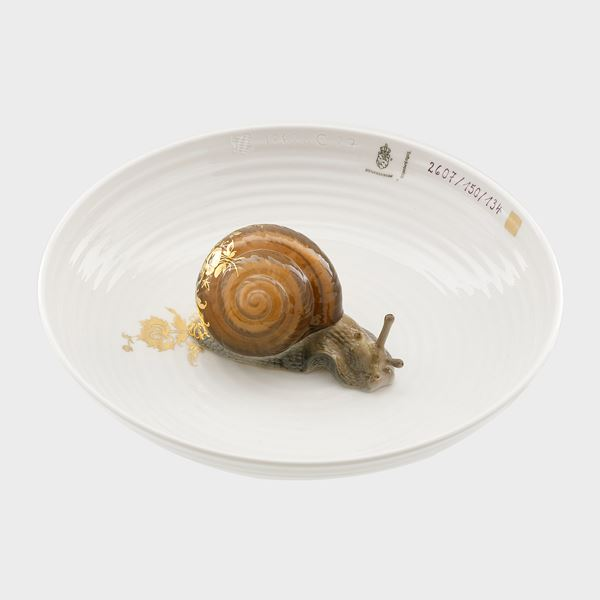 modern minature art sculpture with porcelain and snail