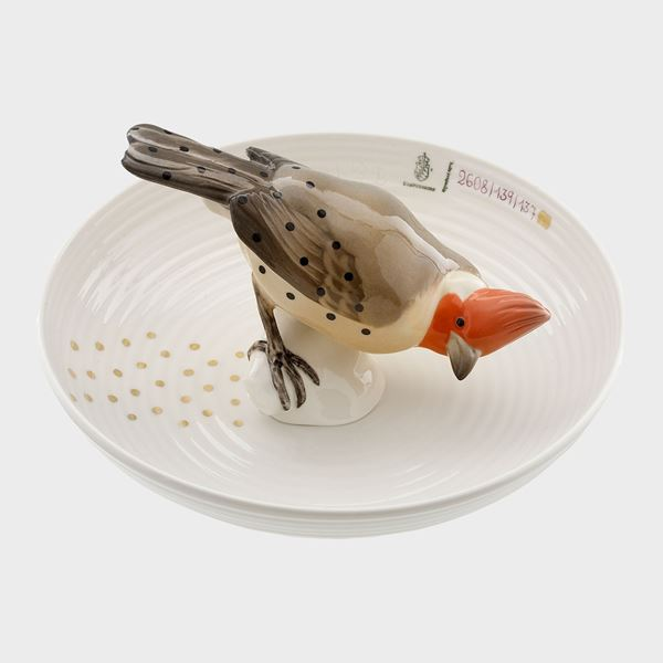 porcelain decorative art bowl with model of bird sat in centre