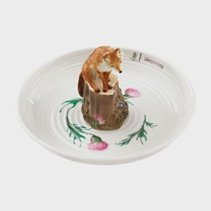 decorative porcelain bowl with model of fox sitting in the centre