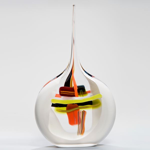 modern abstract art glass vase with long pencil thin neck