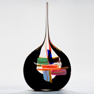 abstract modern art glass vase with round black base colourful pattern and long thin neck