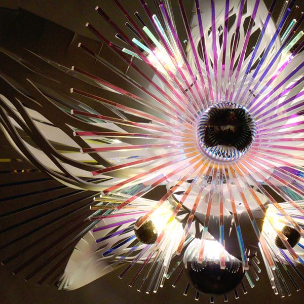 sculptured acrylic chandelier in abstract shape in white and neon colours