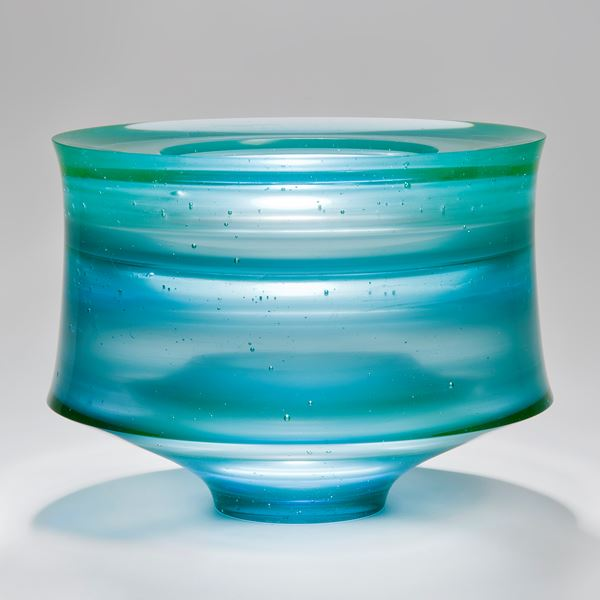 cast glass vessel centrepiece sculpture in blue green turquoise