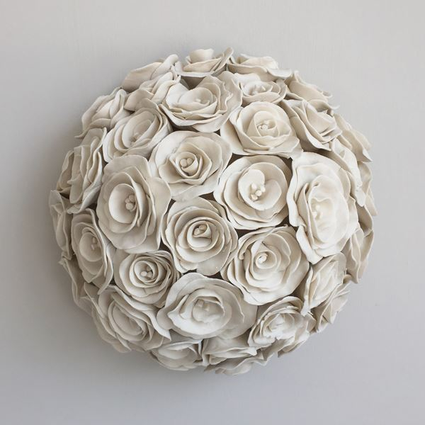 porcelain decorative ceramic sculpture of roses in white
