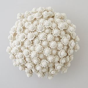 porcelain art sculpture of chamomile flowers arranged in sphere