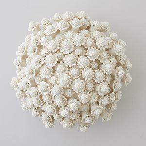 porcelain art sculpture of chamomile flowers arranged in sphere