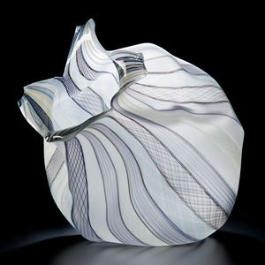 white cane freeblown glass sculpture of fruit with purple lined patterns