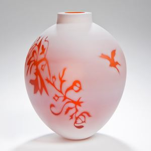 cameo art glass vase in white with orange pattern