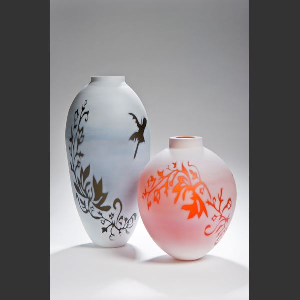 tall cameo glass vase in white with black and gold floral pattern