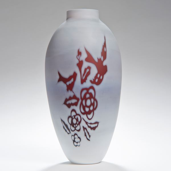 tall cameo glass vase in creamy white with burgandy floral motifs