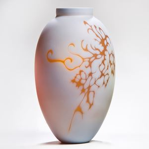 white cameo art glass vase with orange gold motif