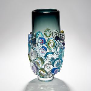 green handblown art glass vase with external adornments