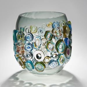 short art-glass vase sculpture in blue and green with colourful external adornments