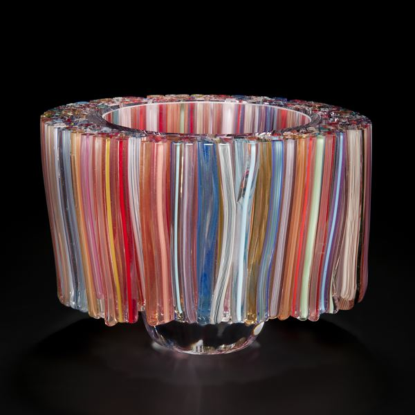 multicoloured modern art glass sculpture resembling lampshade with hollow centre