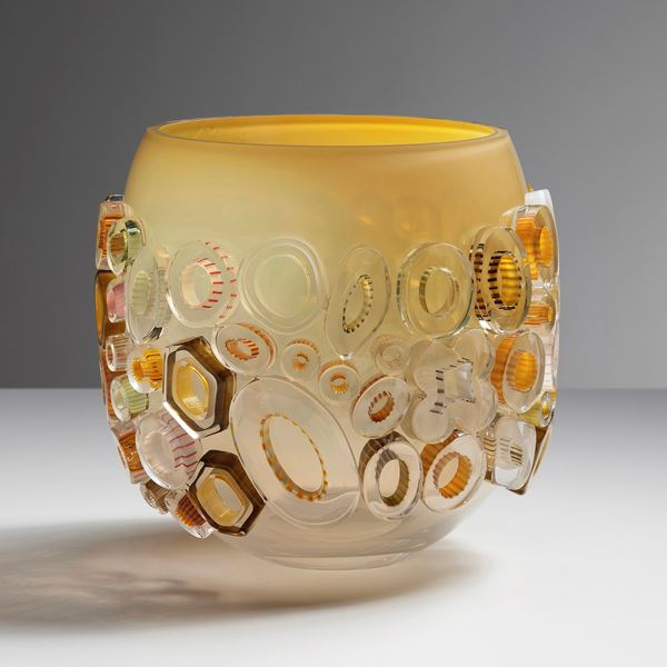 modern handblown glass decorative ornament vase in caramel