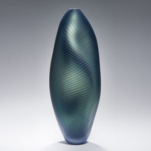 oil and turquoise coloured tall modern abstract art-glass vase sculpture