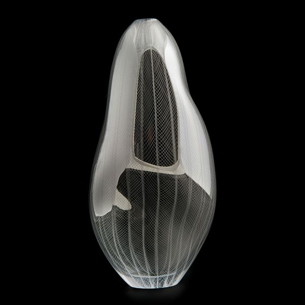 handblown sculpted decorative glass vase in light and dark silver with lined and checked engraved pattern