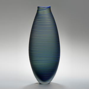 tall grey art glass vase with thin blue horizontal lines